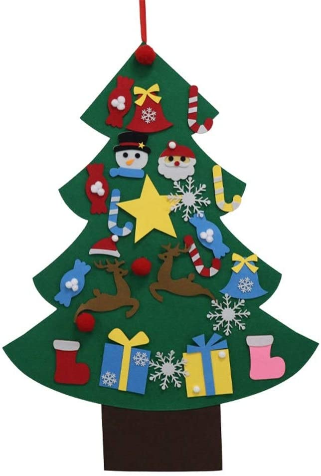 YUXO DIY Felt Christmas Tree Artificial Tree Wall Hanging Ornaments Christmas Decoration for New Year Gifts Kids Toys Home