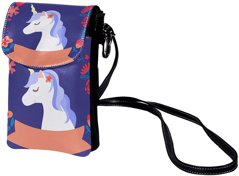 Leather Phone Purse Cute Unicorn (181) Small Crossbody Bag Shoulder Bag