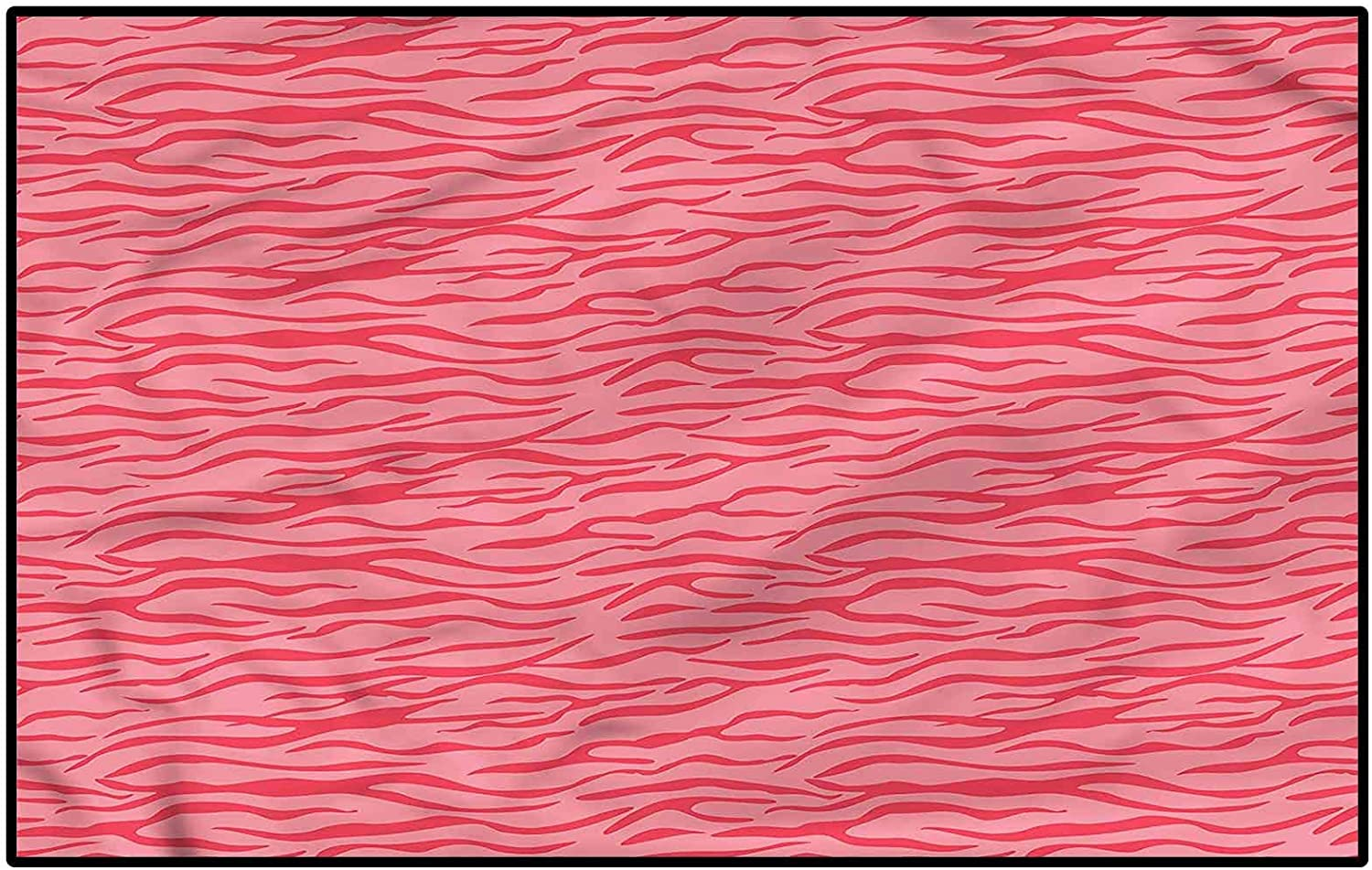 Pink Zebra Outdoor Rugs for patios Kitchen Rugs and mats Wavy Stripes Safari for Living Room Bench Kids Princess Room Decor Kids 6.5 x 9.8 Ft