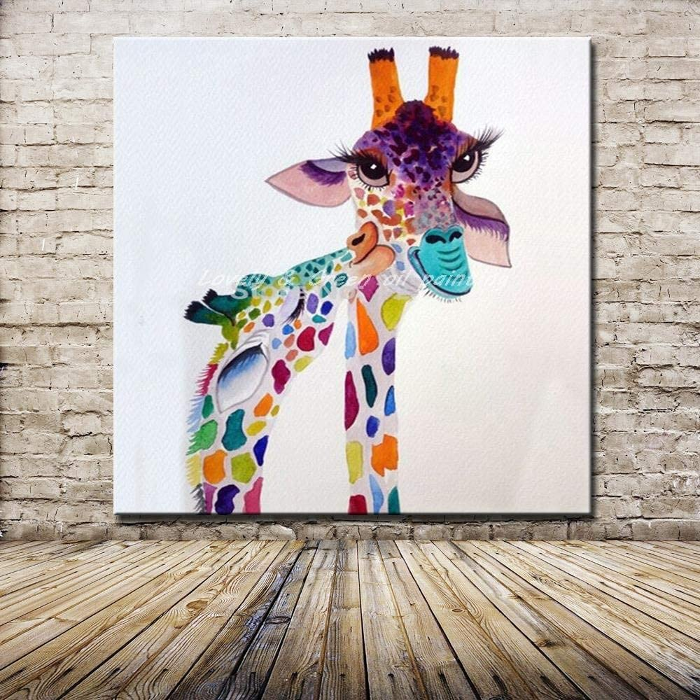 SUMIANYH Hand-Painted Oil Painting Abstract Animal Style Cartoon Cute Giraffe Home Decoration Painting Painting On Canvas Bedroom Living Room Childrens Room Decoration Painting Frameless 120×120Cm