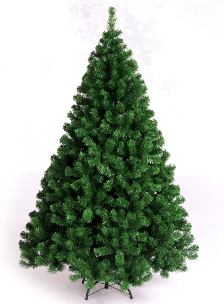 LIUSHI PVC Christmas Tree Unlit, Artificial High Denisity Bare Tree with Metal Stand Easy to Assemble Hinged Pines-2.1m(6.8ft)