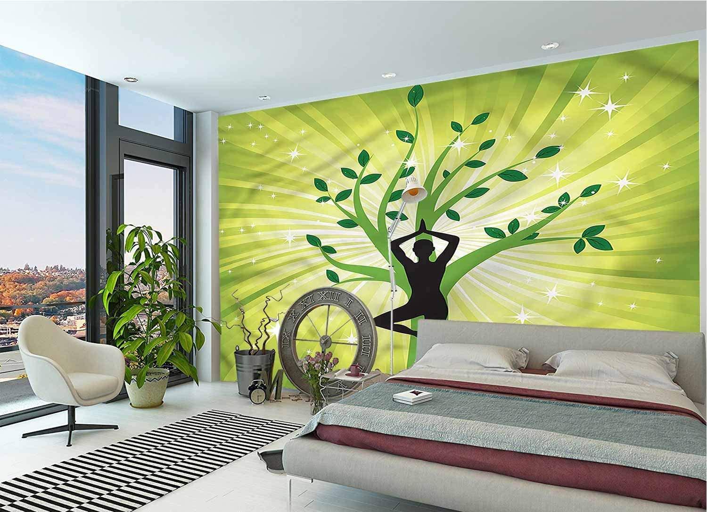 LCGGDB 3D Print Wallpaper Mural,Asana Balance Healthy Strech Self-Adhesive 3D Wallpaper for Office Nursery School Family Decor Playroom Birthday Gift -144x100 Inch