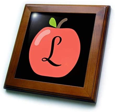 3dRose Stamp City - Typography - Monogram Letter L Inside a red Apple on a Black Background. - 8x8 Framed Tile (ft_324765_1)