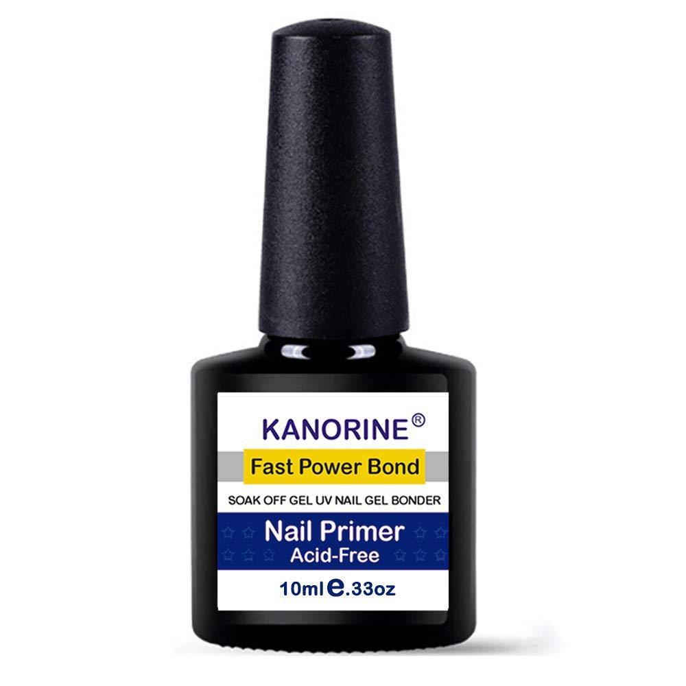 Kanorine non-acid Gel Power Bond Natural Nail Primer/Acrylic Nails Primer, for all uv/led gel nail polish Bonder Nail Tech Essential Primer no-need-cure0.33oz/ 10mlx1