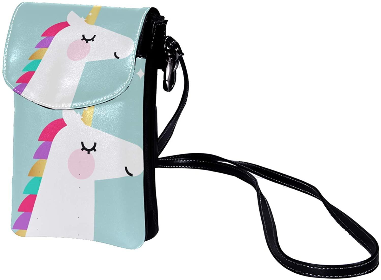 Leather Phone Purse Cute Unicorn (69) Small Crossbody Bag Shoulder Bag