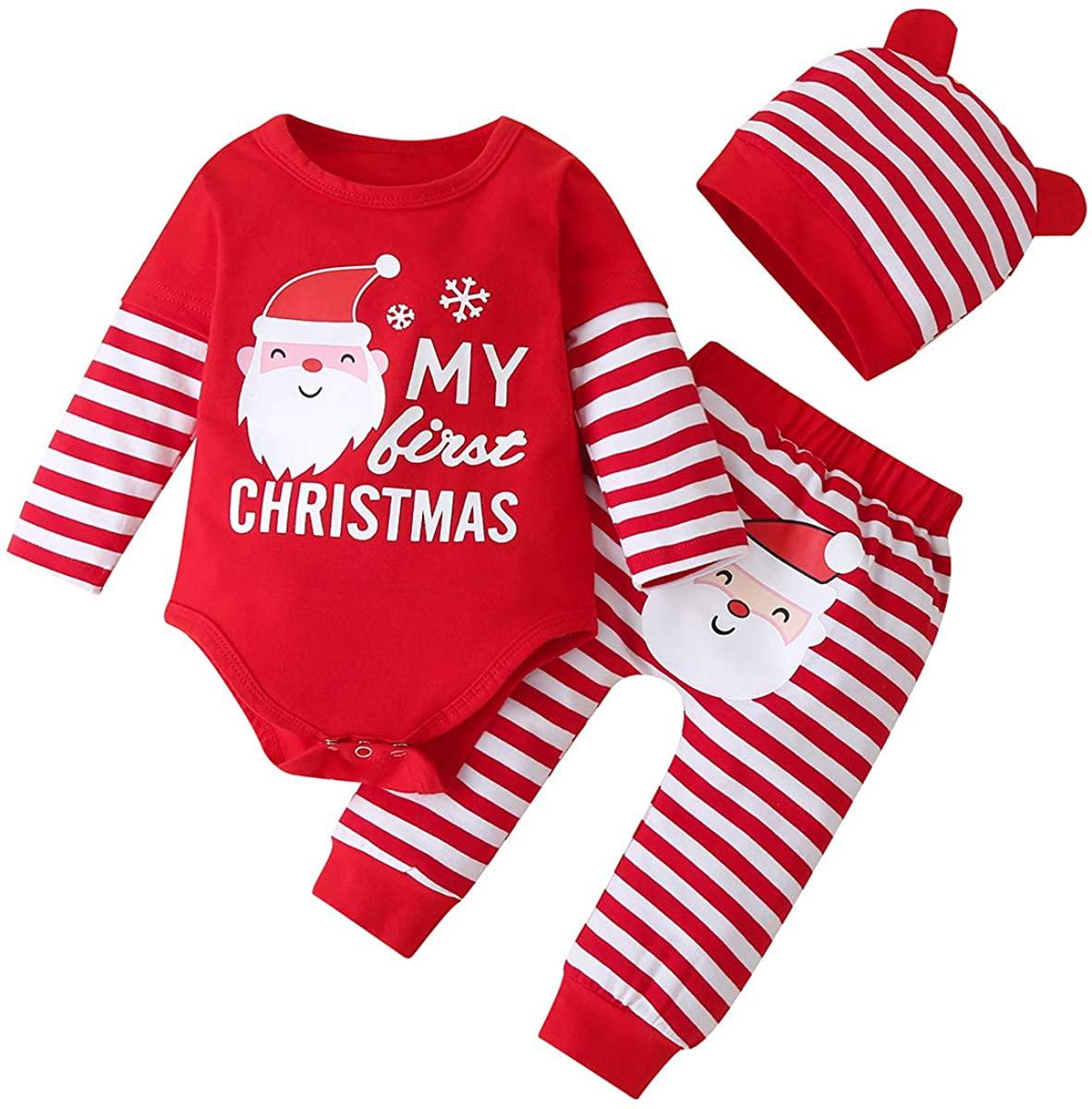 Newborn Infant Baby Boy Girl Christmas Clothes My 1st Christmas Romper + Stripe Pants + Hat 3pcs Outfit Set