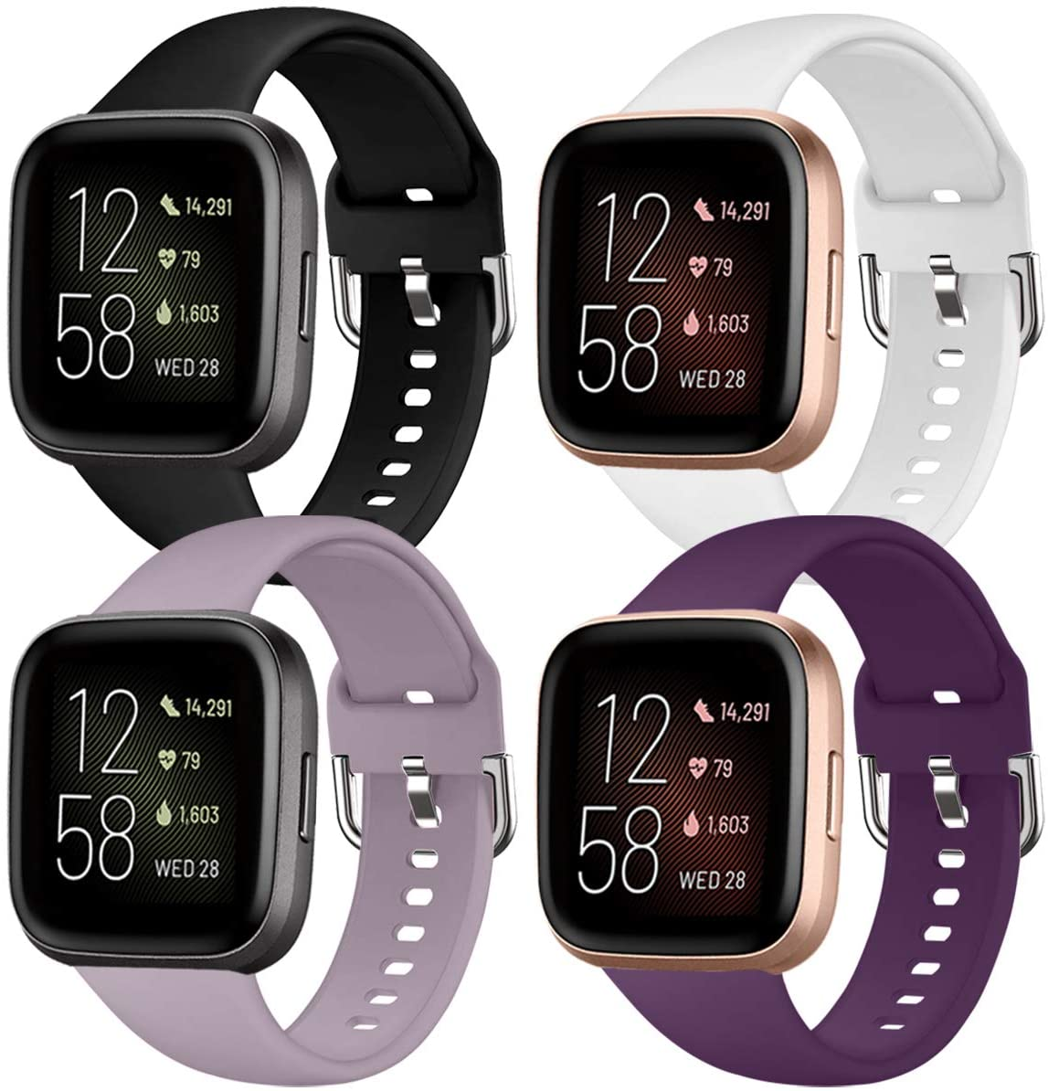 QIBOX 4-Pack Sport Bands Compatible with Fitbit Versa 2, Soft Silicone Waterproof Breathable Watch Strap Replacement Wristband Accessories Women Man for Versa Smart Watch