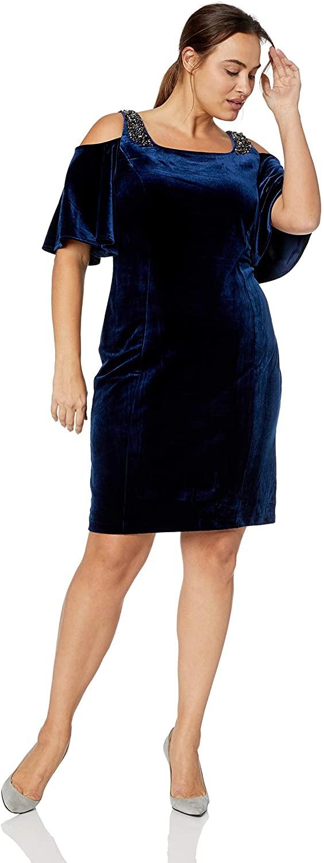Alex Evenings Women's Plus Size Short Cold Shoulder Velvet Dress