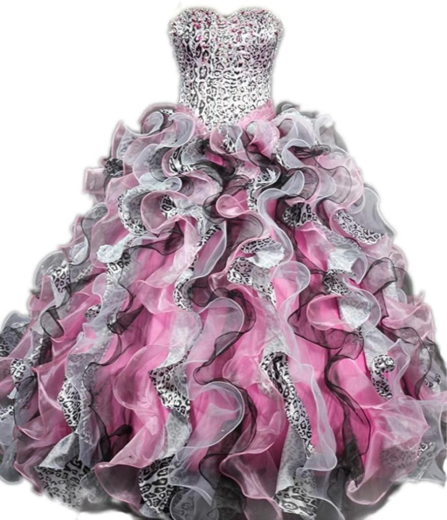Dearta Women's Sweetheart Floor-Length Organza Crystals Quinceanera Ball Gowns