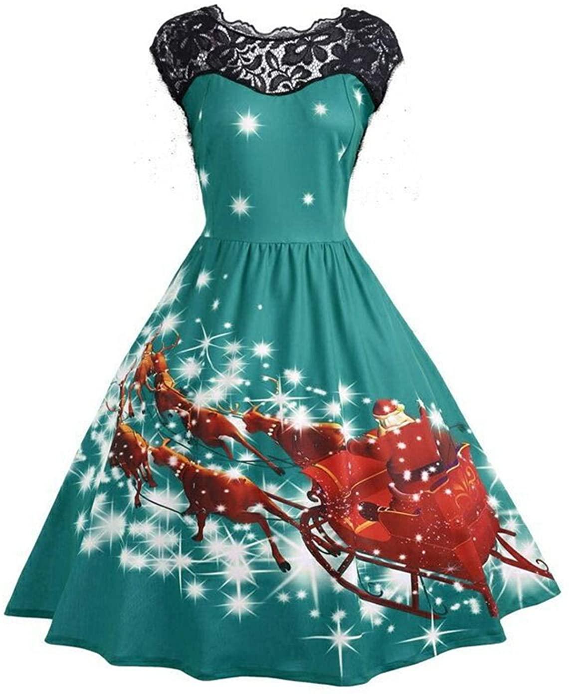 Women?s Vintage Sleeveless Bat Cat Pumpkin Print Dress Halloween Party Dress Christmas Party Swing Dresses