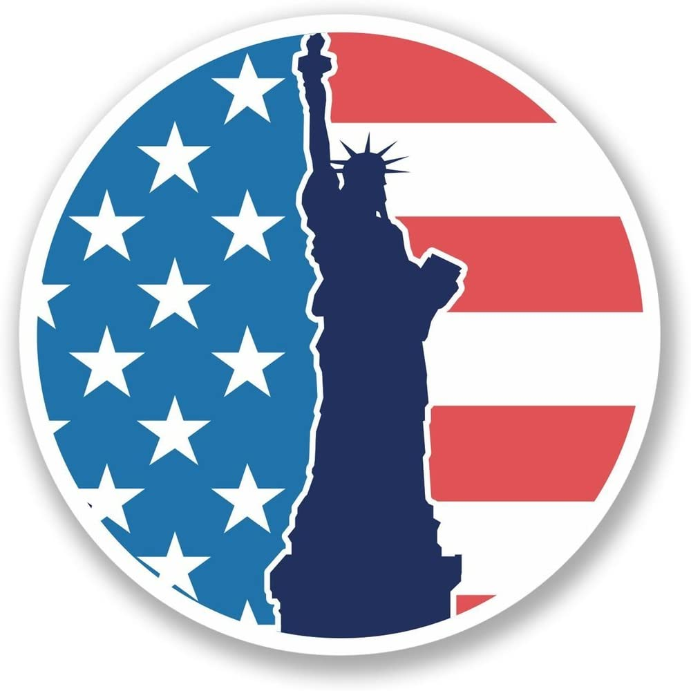 2 x 10cm- 100mm America Statue of Liberty Vinyl SELF ADHESIVE STICKER Decal Laptop Travel Luggage Car iPad Sign Fun #4344