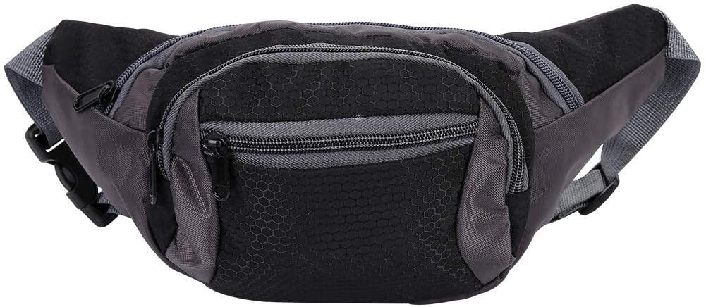 Yosoo Bum Pack, Waist Bag Outdoor Large Capacity Waterproof Nylon Multi-Functional Black Sports Fanny Pack