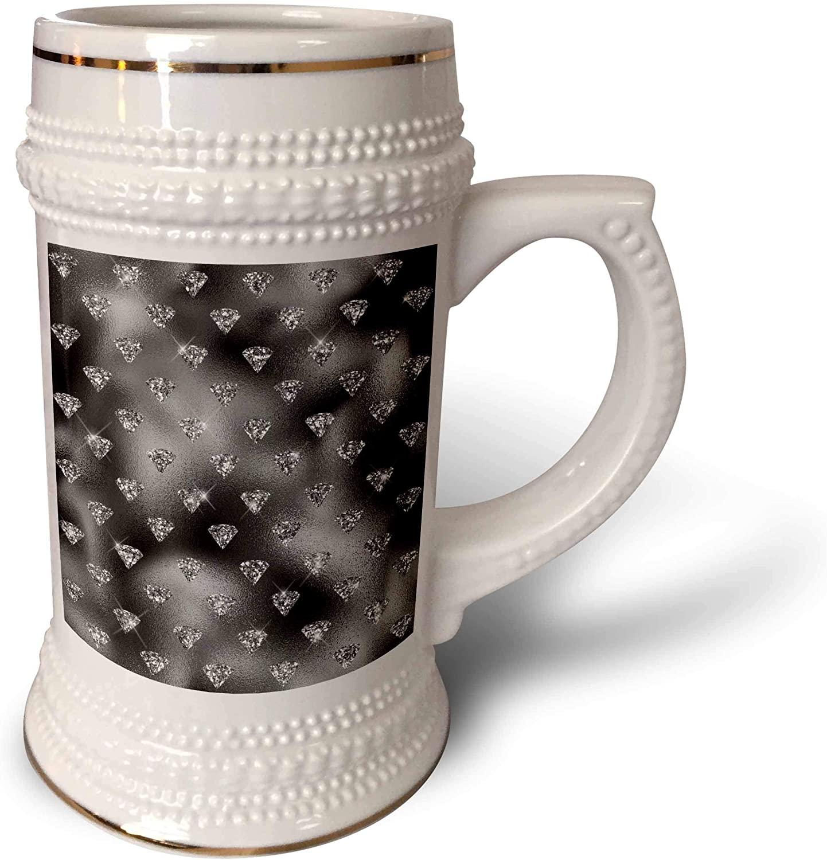3dRose Glam Image Of Silver Glitter Image of Diamonds On Black. - 22oz Stein Mug (stn_326565_1)