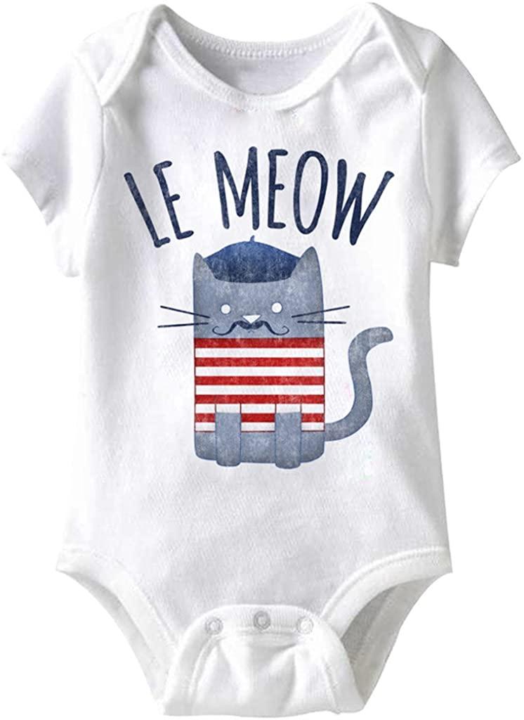 A&E Designs Le Meow Funny Romper Infant White Baby Creeper