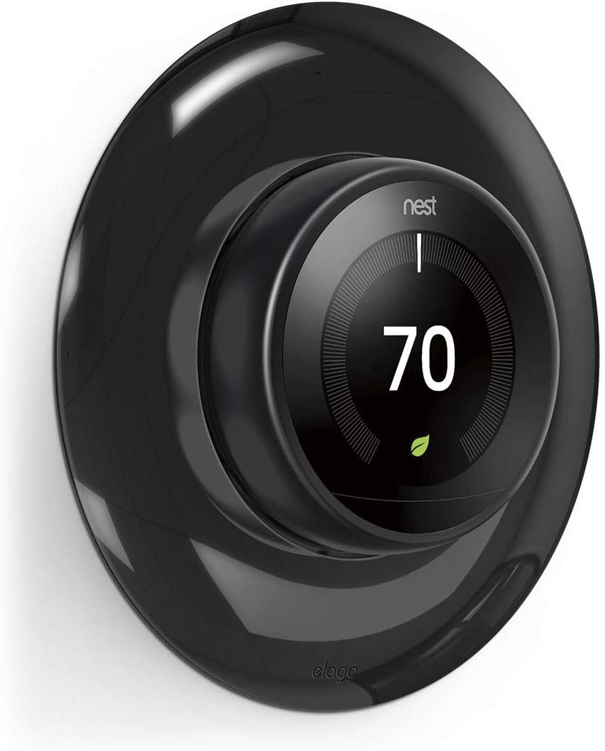elago Wall Plate Cover for Google Nest thermostat Wall Plate (Mirror Black) - Compatible with Nest Learning Thermostat 1st/2nd/3rd Generation [US Patent Registered]