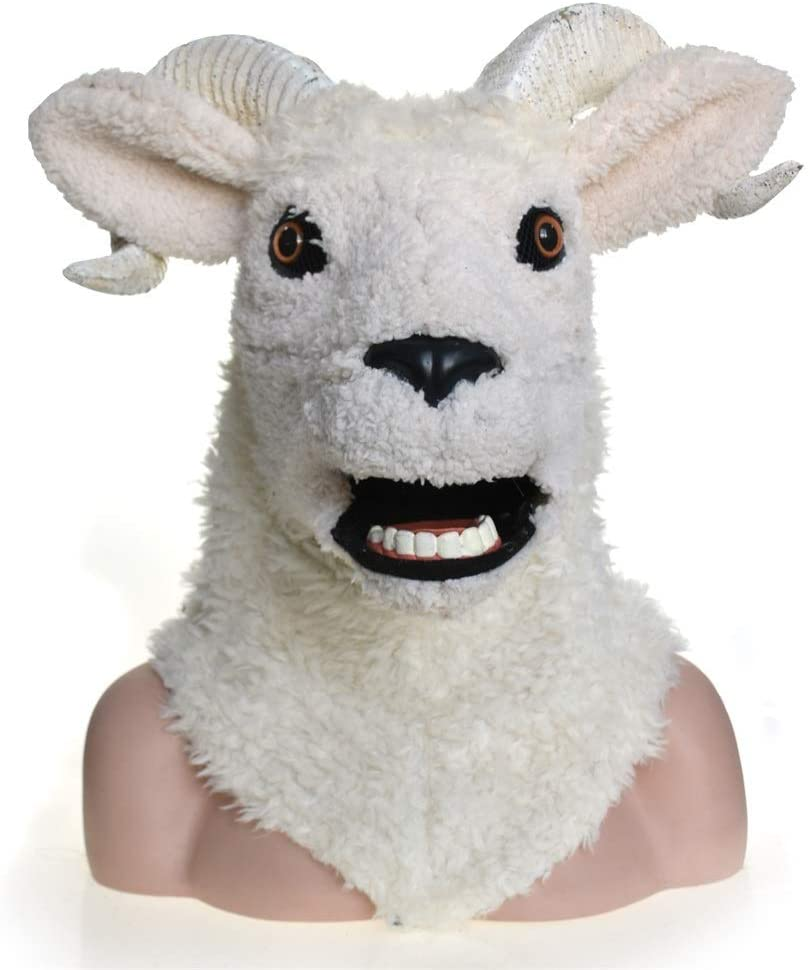 RenWai Halloween Lifelike Cosplay Carnival Costume Lamb Sheep Masquerade Full Head Animal Mask for Halloween Carnival Party (Color : White)