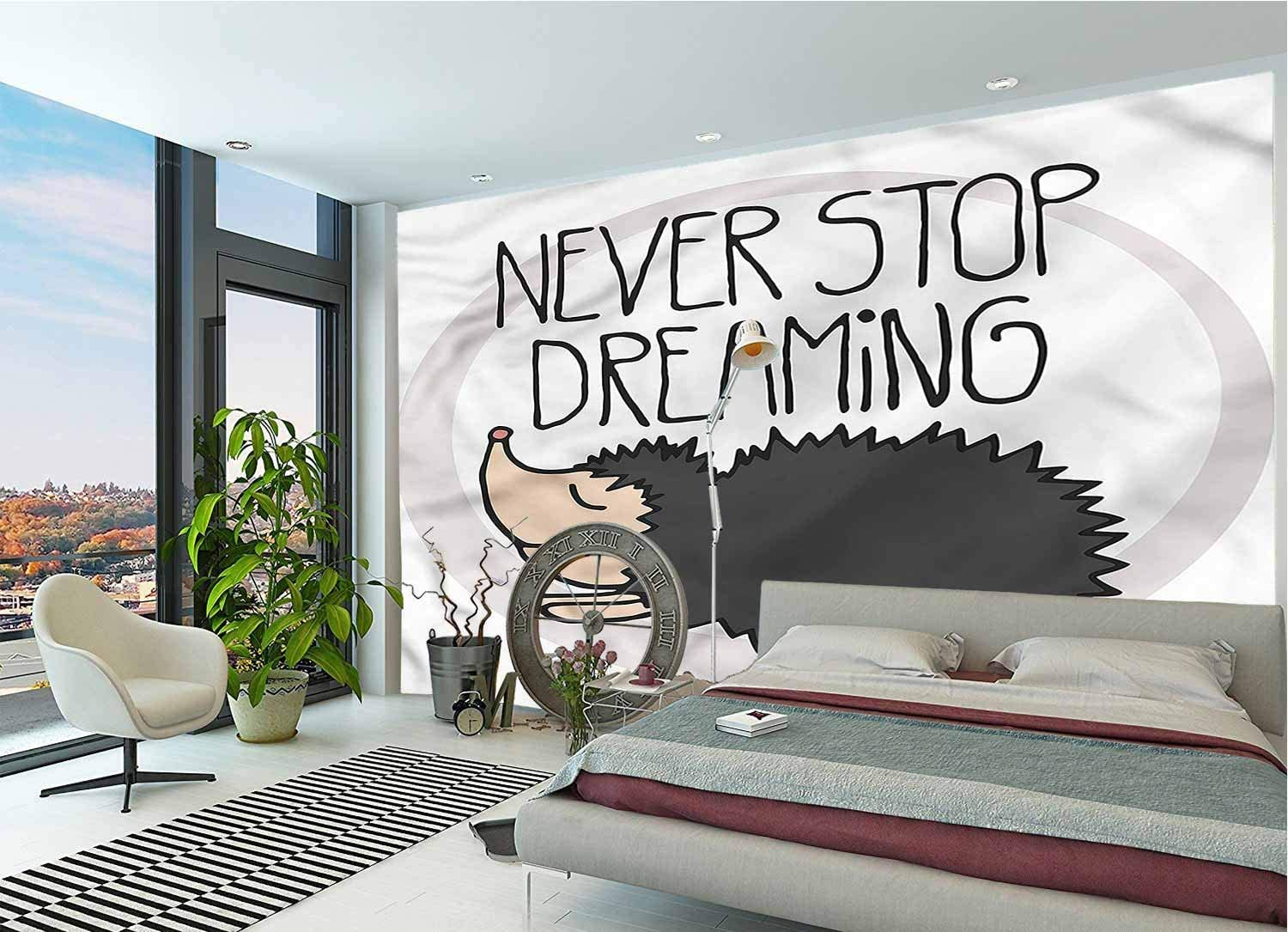 LCGGDB Quote Wallpaper Mural,Hedgehog Giving A Life Advise Peel & Stick Wallpaper for Office Nursery School Family Decor Playroom Birthday Gift -144x100 Inch