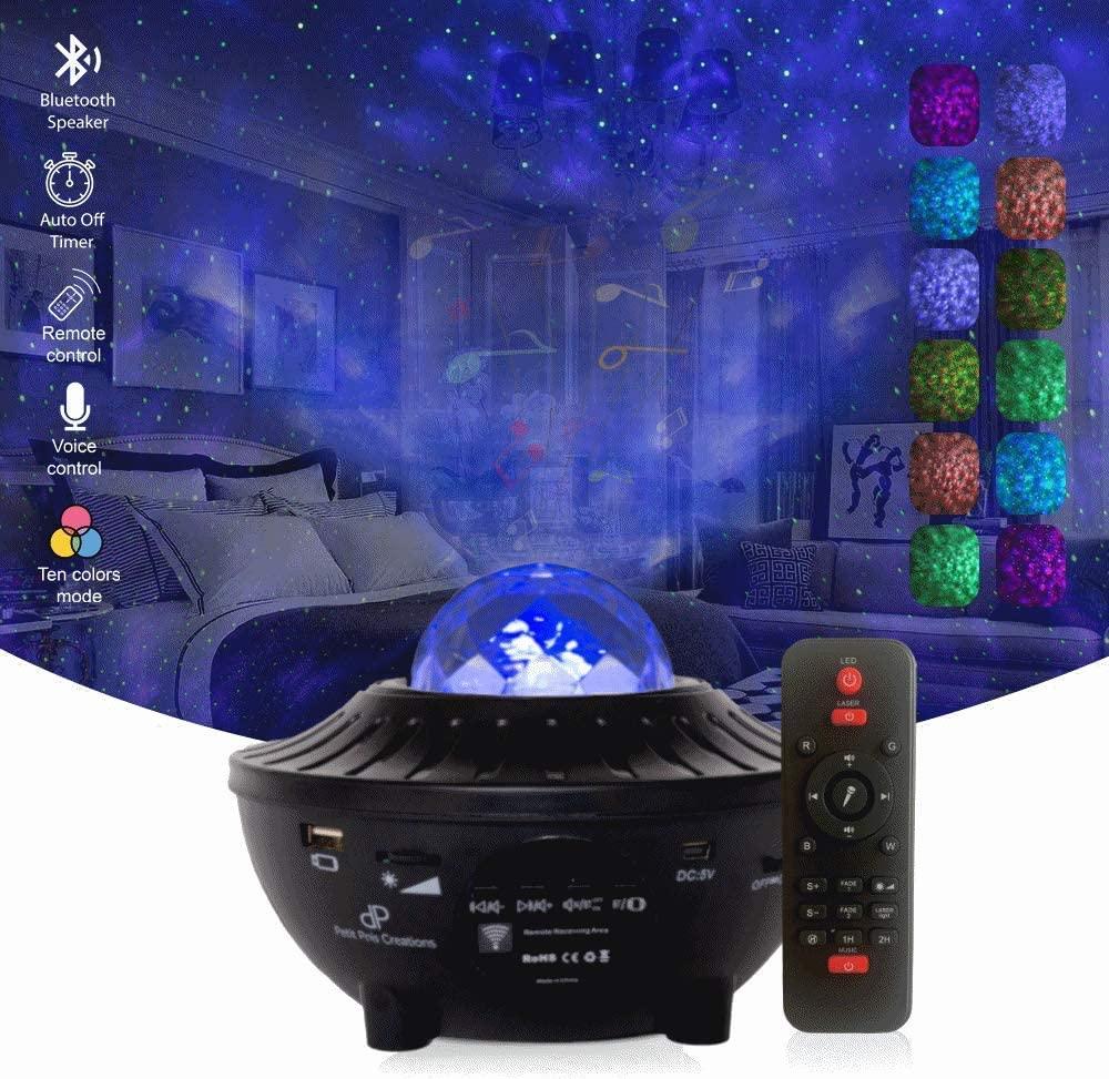 Petit Pois Creations, Stars Night Light Galaxy Projector W/led Light, Skylight Star Projector, Lights for Bedroom, Party Lights/Night Lights for Kids W/Bluetooth Speaker, Voice&Remote Control(Black)