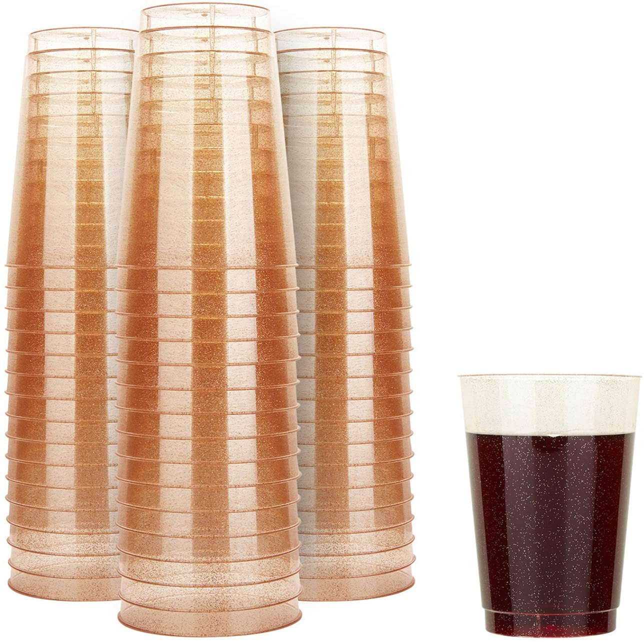 TOROTON 50 Glitter Plastic Cups, 12oz Disposable Clear Party Cups, Hard Plastic Drinking Cups for Wedding Birthday Anniversaries - Rose Gold