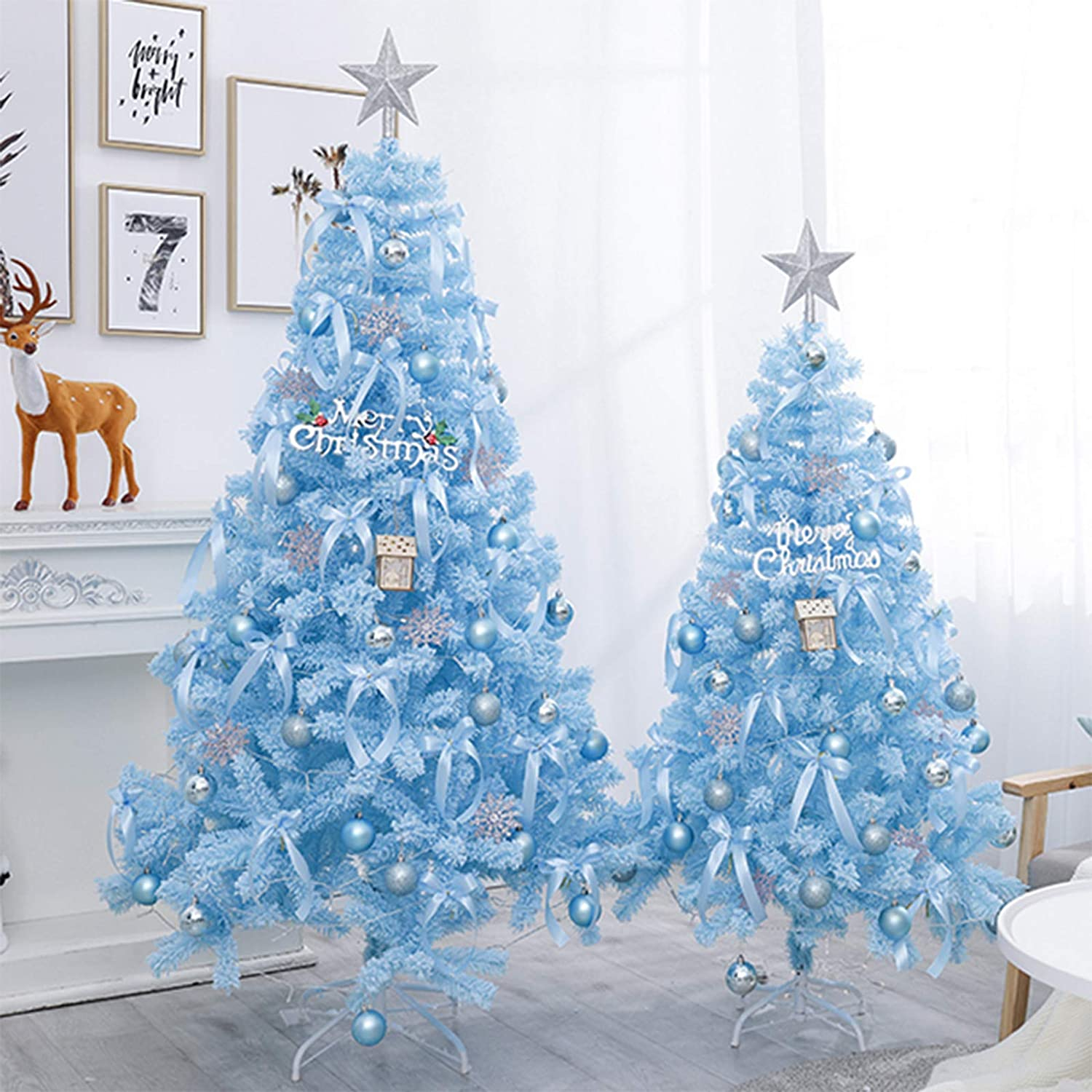 CYQ Easy Install Christmas Tree for Indoor Outdoor Christmas Decorations, Blue Bushy Christmas Tree, Deluxe Artificial Tree with Metal Stand