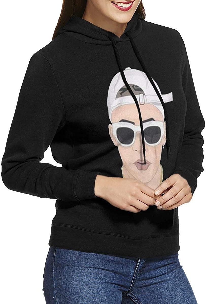 Women's Hooded Sweatshirt No Pockets Bad X Bunny Black