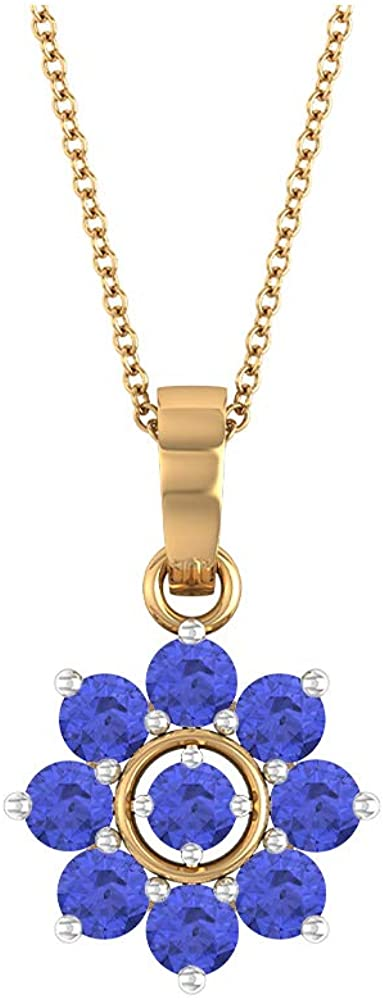 Tanzanite Necklace, 1.32 CT Round Shaped 3.30 MM Gemstone, Gold Floral Jewelry Collection, Cluster Pendant Necklace, Valentines Gift For Her
