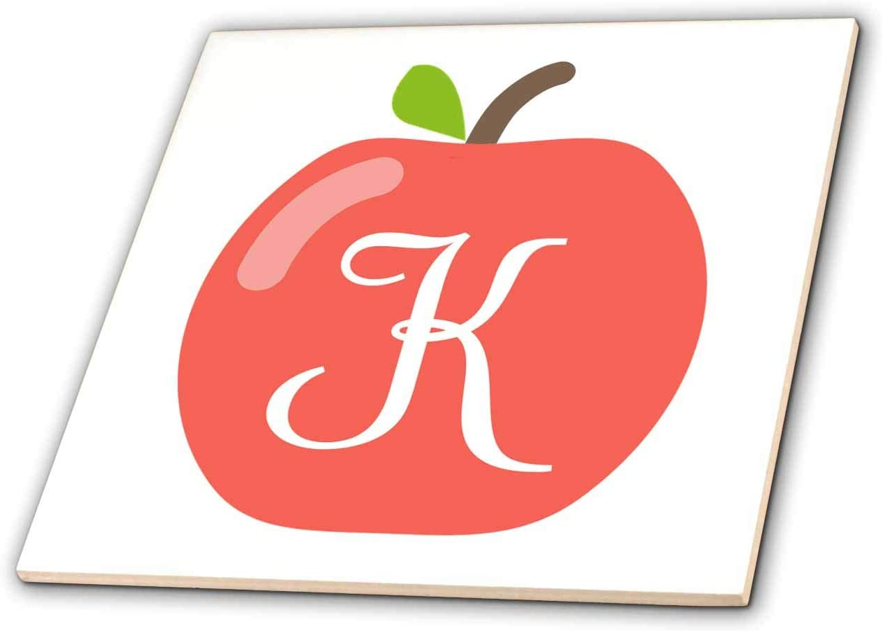 3dRose Stamp City - typography - Monogram letter K inside a red apple on a white background. - 6 Inch Glass Tile (ct_324764_6)
