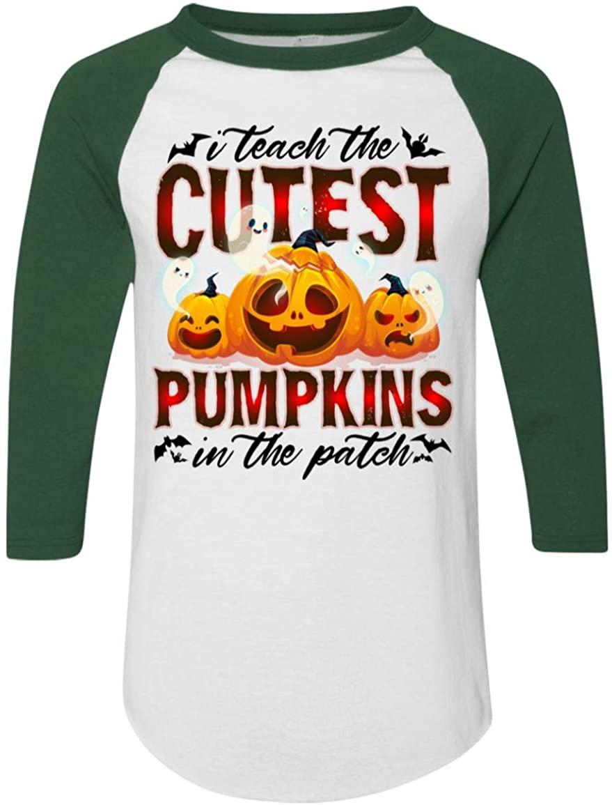 I Teach The Cutest Pumpkins in The Patch 3/4 Raglan Jersey Shirt - Baseball Tee, 3XL, Raglan Jersey/White/Dark Green