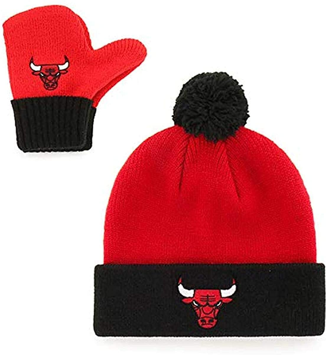 '47 Brand Infant/Toddler Bam Bam 2-Tone Beanie Hat POM and Glove Gift Combo - NBA Baby Knit Cap/Mittens