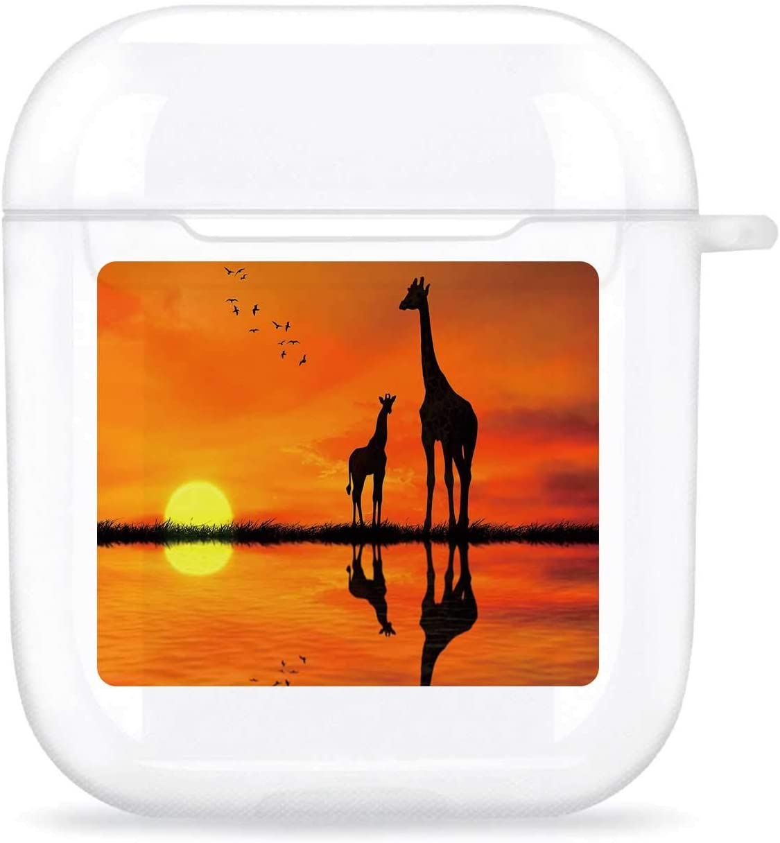 Silhouettes of Two Giraffes with Reflection in Lake Water Against African Sunset,Compatible with Airpods 1& 2 Charging Case TPU Transparent Anti-ash, Anti-, Anti-Fall AirPods 1/2