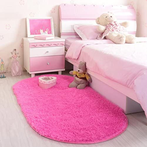 ACTCUT Super Soft Indoor Modern Shag Area Silky Smooth Rugs Fluffy Anti-Skid Shaggy Area Rug Dining Living Room Carpet Comfy Bedroom Floor 2.6'x 5'3 Oval (Hot Pink)