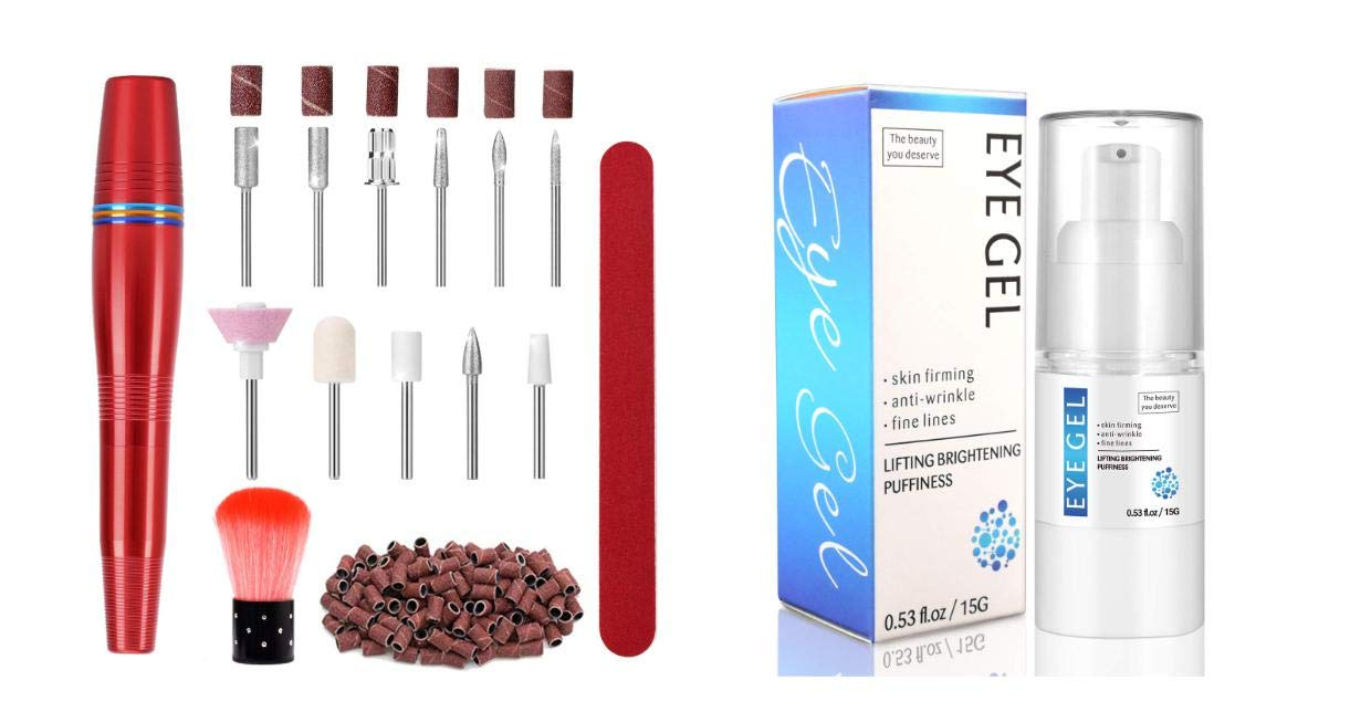 Portable Electric Nail Drill Kit USB Manicure Pedicure E-file Professional Acrylic Nail File Drill Kit and Eye Gel Hydrating Gel-Cream Moisturizer Under Eye Treatment