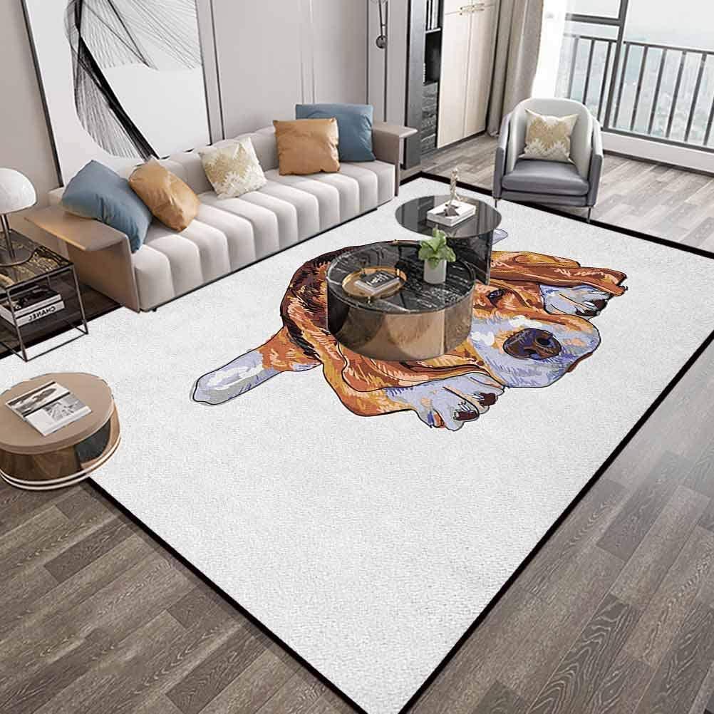 Beagle Area Carpet 6X9 Feet,Old Dog Resting Sleeping Tired Puppy Short Haired Purebred Sketch Art,Runner Floor Carpet with Lock-Edge & Non-Slip Bottom,Brown Baby Blue White