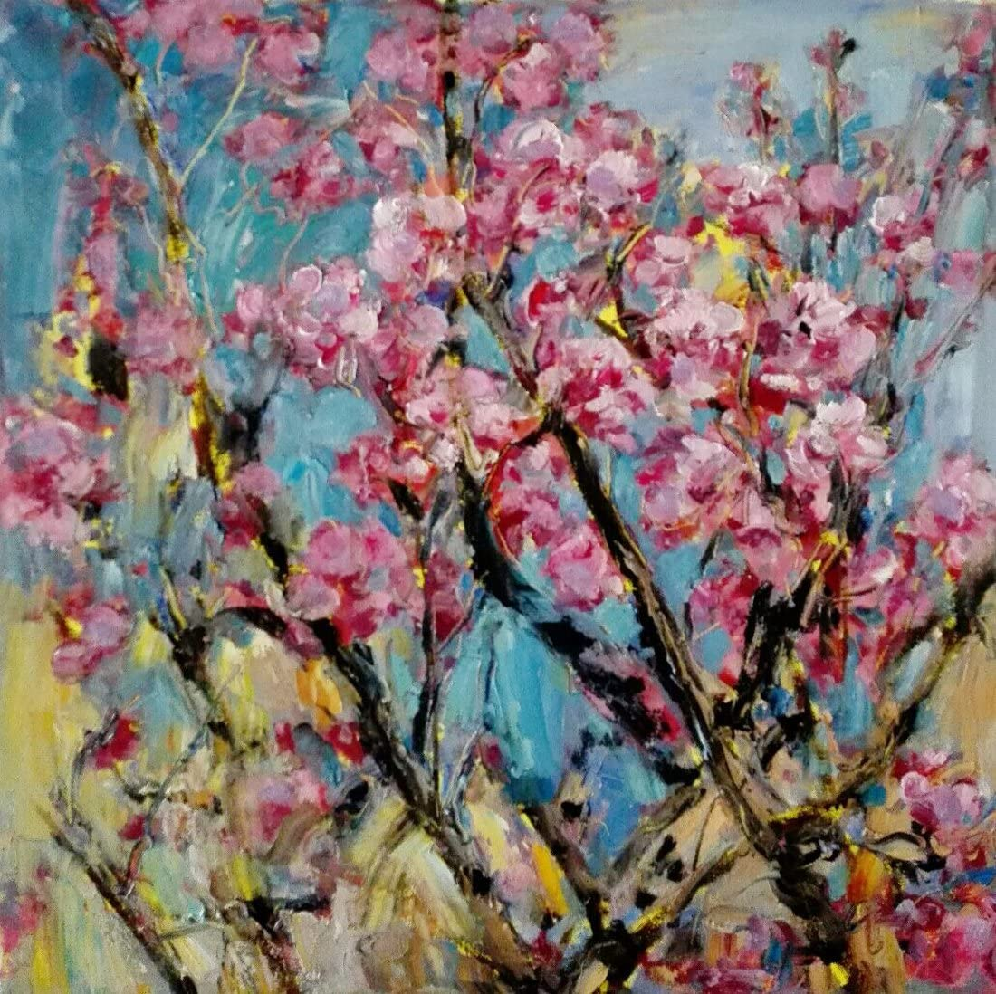 Peachblossom By Original Artist - Chen DeJun. Museum Quality Oil Painting. (Unframed and Unstretched).Painting Size 48x48 In.