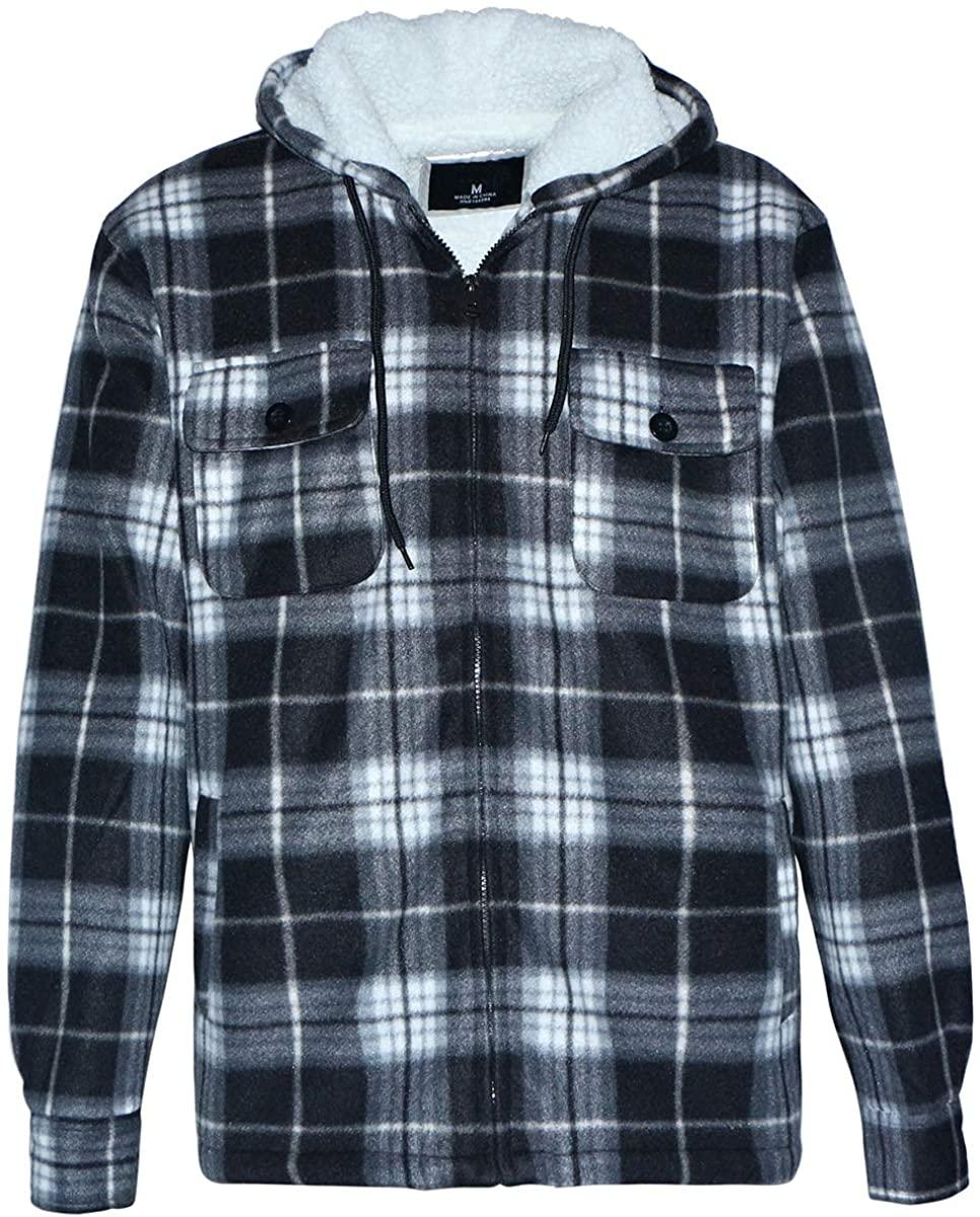 Winter Heavy Warm Sherpa Lined Fleece Plaid Flannel Jacket Men Plus Size S-5XL Big&Tall Mens Coat