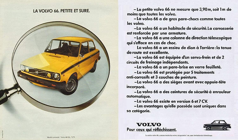 1976 VOLVO 66 BERLINE 2-Portes * La Volvo 66. Petite et sure. * LARGE VINTAGE COLOR AD DOUBLE PAGE - FRANCE - FANTASTIC ORIGINAL !!