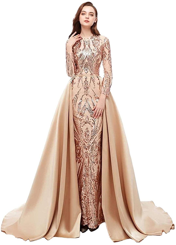 Dressytailor Women's Mermaid Sequins Long Satin Prom Gowns Evening Dress with Detachable Train