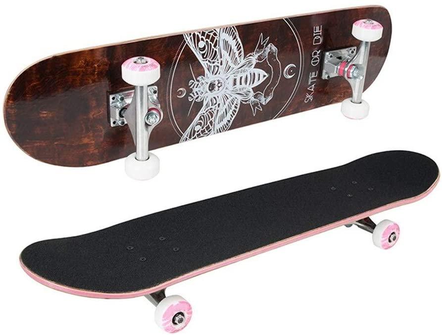Skateboard Bee Pro Complete Skateboard Deck Skateboards with 52mm Skateboard Wheels for Teens Beginners Girls Boys Standard Skateboards (Color : Black, Size : 78x20cm)
