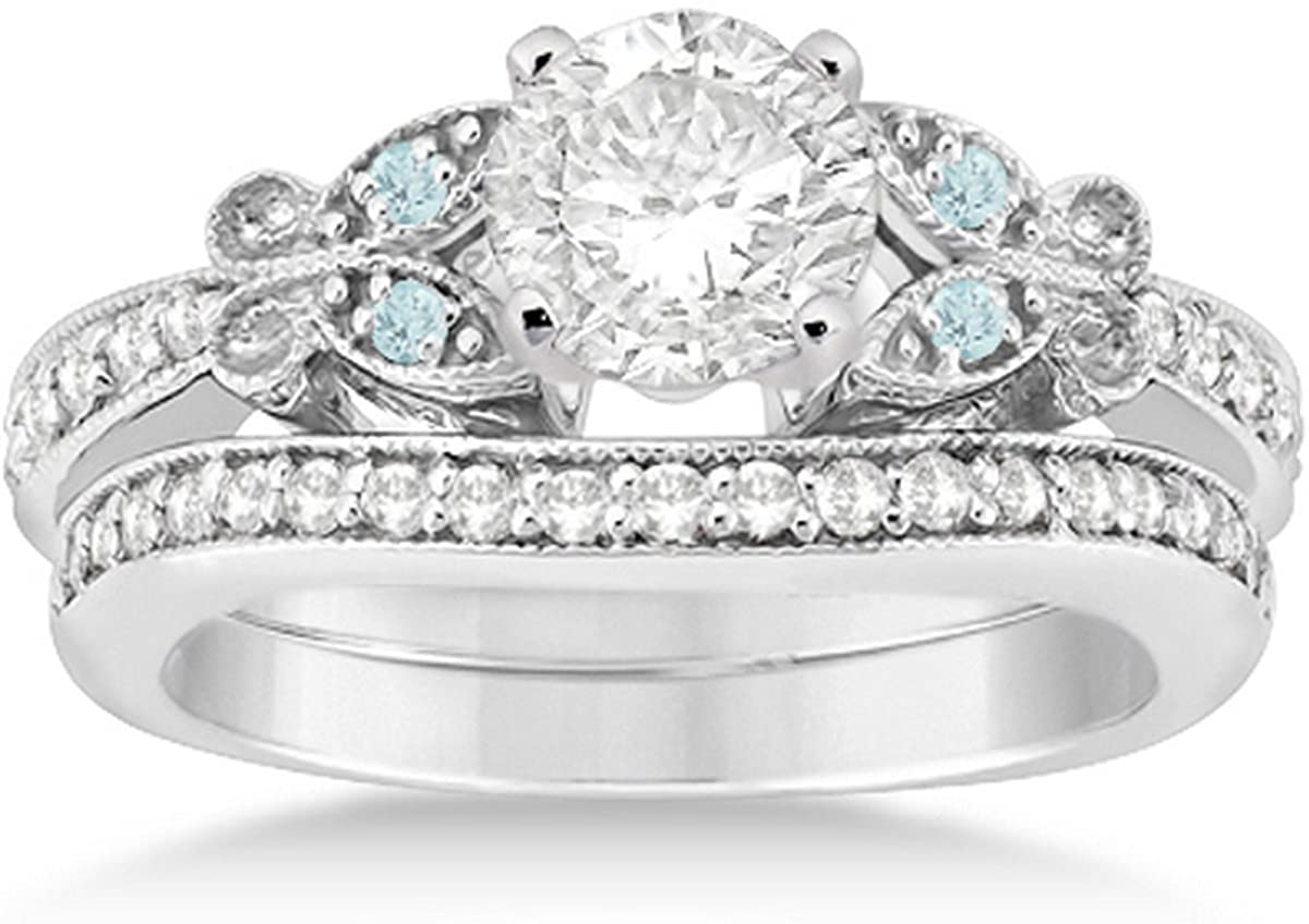Butterfly Diamond and Aquamarine Gemstone Bridal Set Platinum (0.42ct)