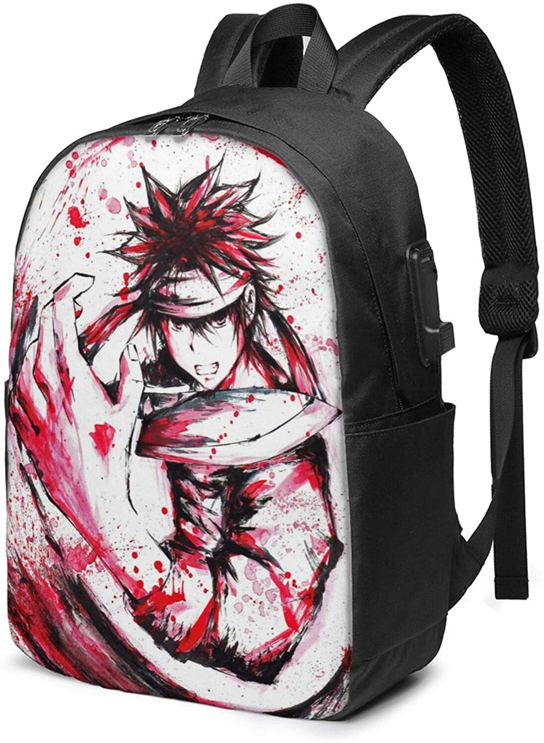 Food Wars School Backpack 17-Inch Bag with USB Charging Port & Headphone Port