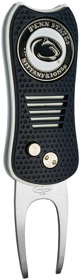 Team Golf NCAA Switchblade Divot Tool with Double-Sided Magnetic Ball Marker, Features Patented Single Prong Design, Causes Less Damage to Greens, Switchblade Mechanism