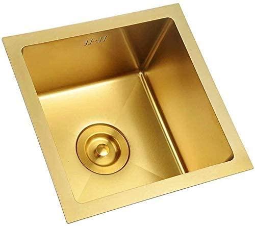 QNN Sink,Kitchen Sink Stainless Steel Sink Square Sink Single Bowl Restaurant Kitchen 45 45Cm