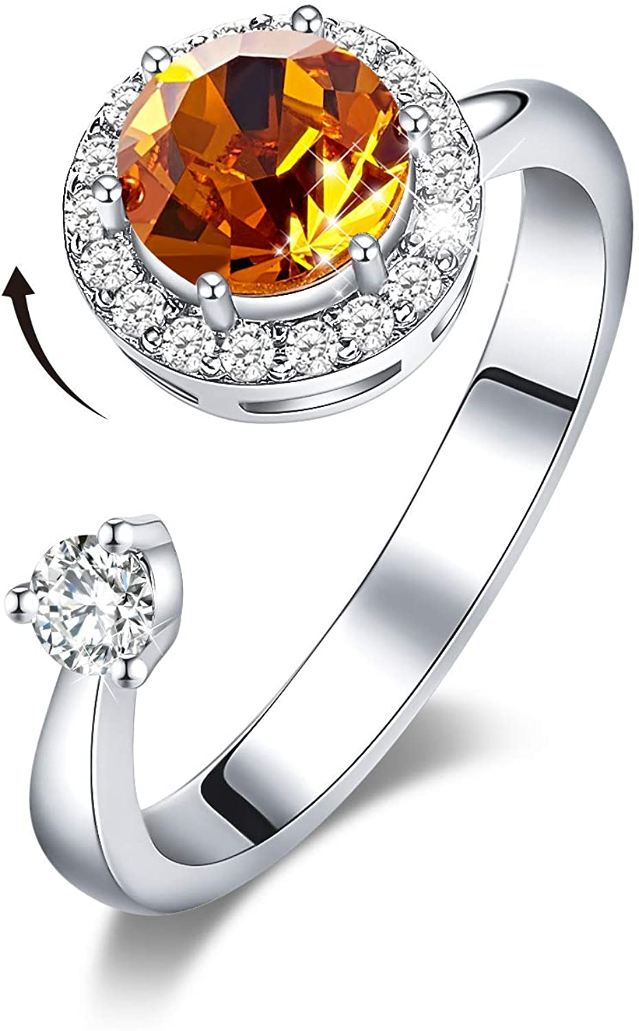 CDE Rotating Birthstone Rings for Girls Womens Birthday Mothers Day Jewelry Gifts Embellished with Crystals from Austria Ring 18K Rose Gold/Rhodium Plated Adjustable Size 7-9 for Girlfriend Wife