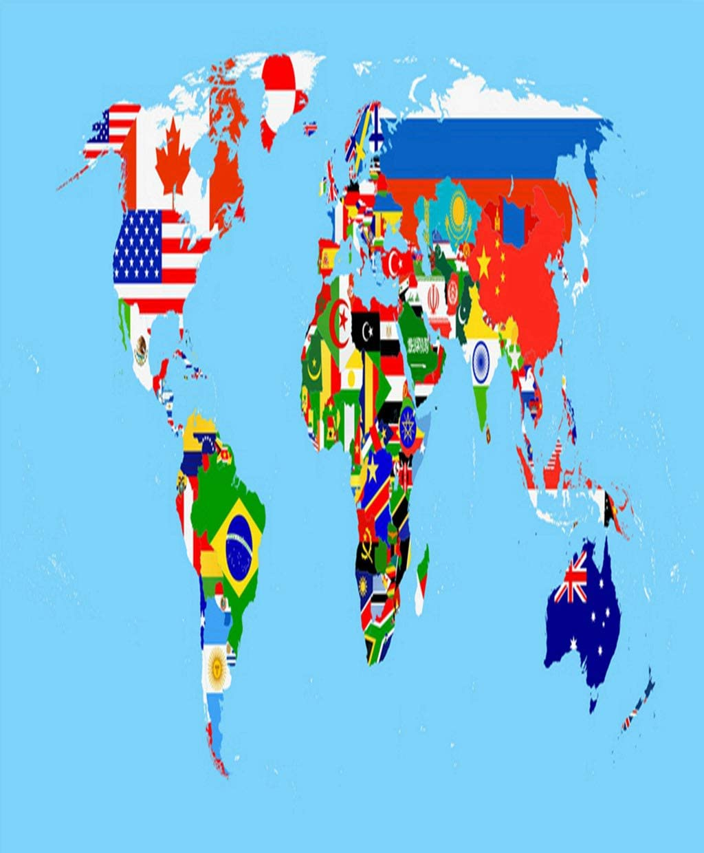 Zomike Poster Wall Art World Flag Map Blue All are Separated in Layers Prints Artwork Unframed Modern Home Decor for Living Dining Dorms Office 18 X 24 Inches