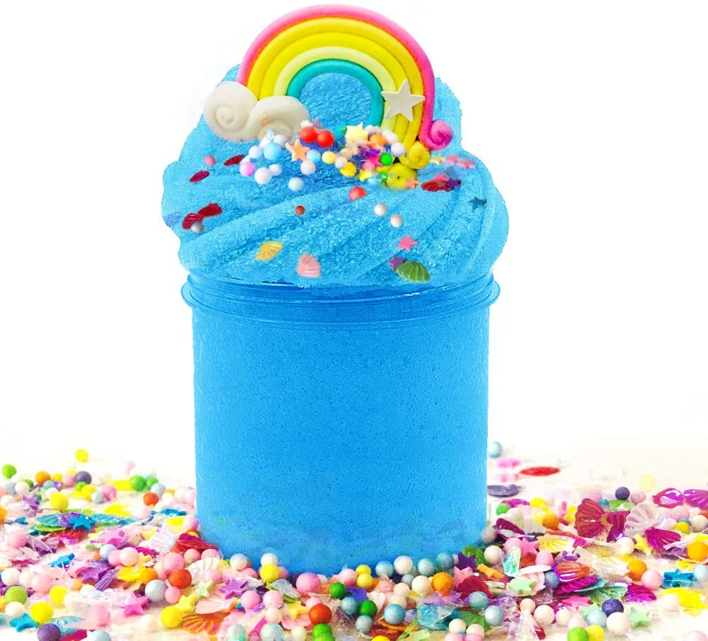 Scientoy Fluffy Slime, Cloud Slime, Stretchy Slime, Premade Slime Kit with a Container, a Rainbow, Sugar Papers, Stars, Shells and Foam Balls, Stress Relief Toy, Scented DIY Sludge Toys for Kids
