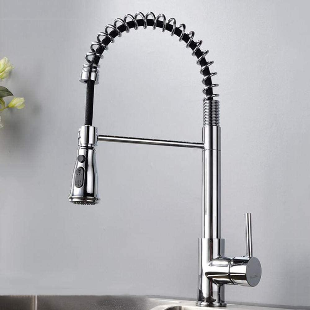 IUYJVR Kitchen Taps,Pull Out Spring Kitchen Tap,Kitchen Faucet Kitchen Sink Tap with Two Spray Modes Cold and Hot Mixer Tap for Kitchen Sink-Chrome
