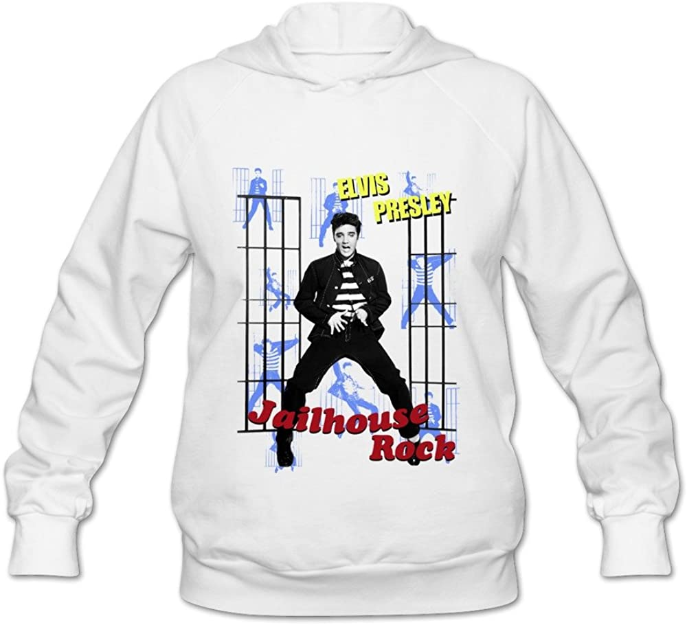 Vintage Elvis Presley The Jail House Rock Women's Hooded Sweatshirt Black
