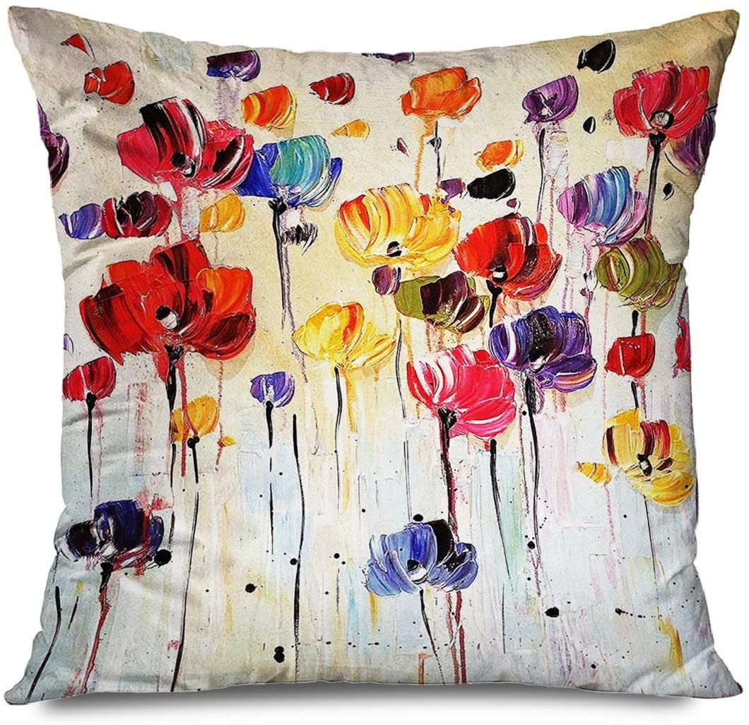 CHARLLR Throw Pillow Cover 18x18 Inch Oil Painting Abstarct Flower Farmhouse Floral Watercolor Colorful Vintage Retro Flowers Decorative Pillowcase for Sofa Couch Bedroom Living Room
