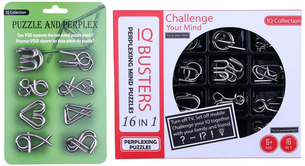 HMANE 24Pcs Metal Wire Brain Teaser Puzzle, IQ Test Toy, Puzzle Disentanglement Puzzles Toy Unlock Interlock Game for Kids Adults