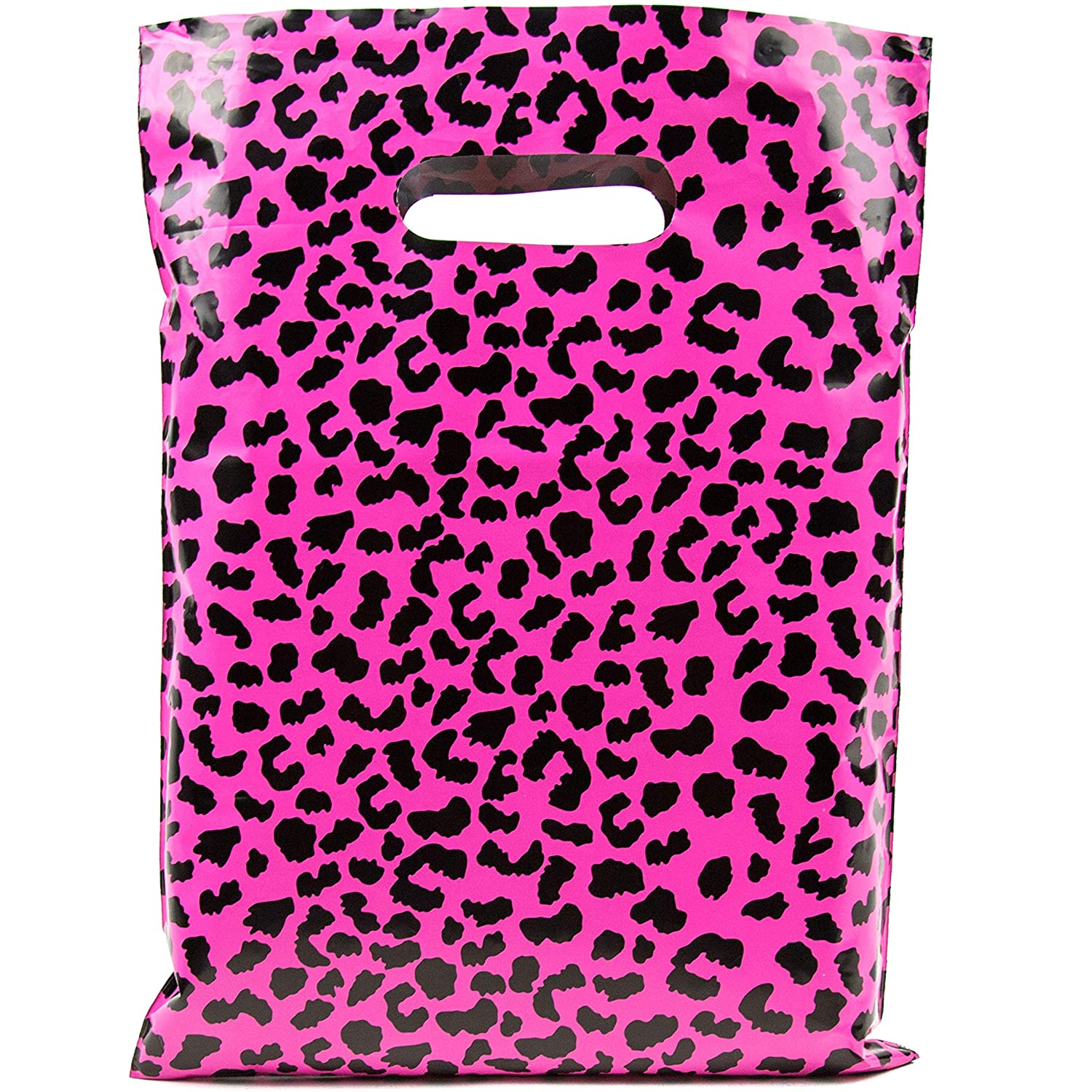Merchandise Bags 12x15-100 Pack - Hot Pink Cheetah - Glossy Retail Bags - Shopping Bags for Boutique - Boutique Bags - Plastic Shopping Bags